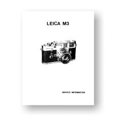 Leica M3 Service Information Manual Part List | 35mm Film Cameras