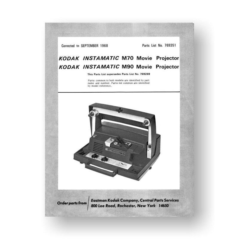 Kodak M70-M90 Parts List | Super 8mm | Film Projector