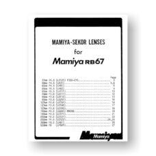 Mamiya RB67 Service Manual Parts List PDF Download