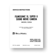 Bell & Howell 1230A Service Manual Parts List | Super 8 Sound Movie Camera