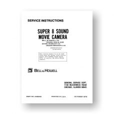 Bell & Howell 1234-1235  Service Manual Parts List | Sears 584.91970 A B | Super 8 Sound Movie Camera