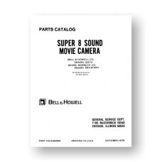 Bell & Howell 1237A  Service Manual Parts List | Sears 584.91990 | Super 8 Sound Movie Camera