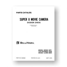 Bell & Howell 2183G Service Manual Parts List   Super 8 Movie Camera