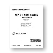 Bell & Howell 2183G Service Manual Parts List | Super 8 Movie Camera