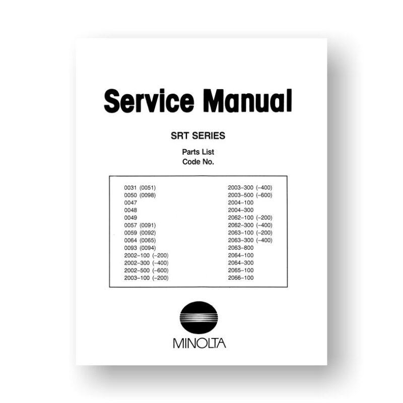 Minolta SR-T Series Parts List PDF Download