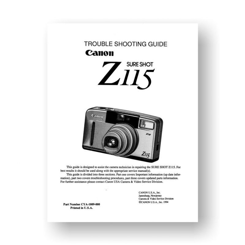 Canon SureShot-Z115 Trouble Shooting Guide
