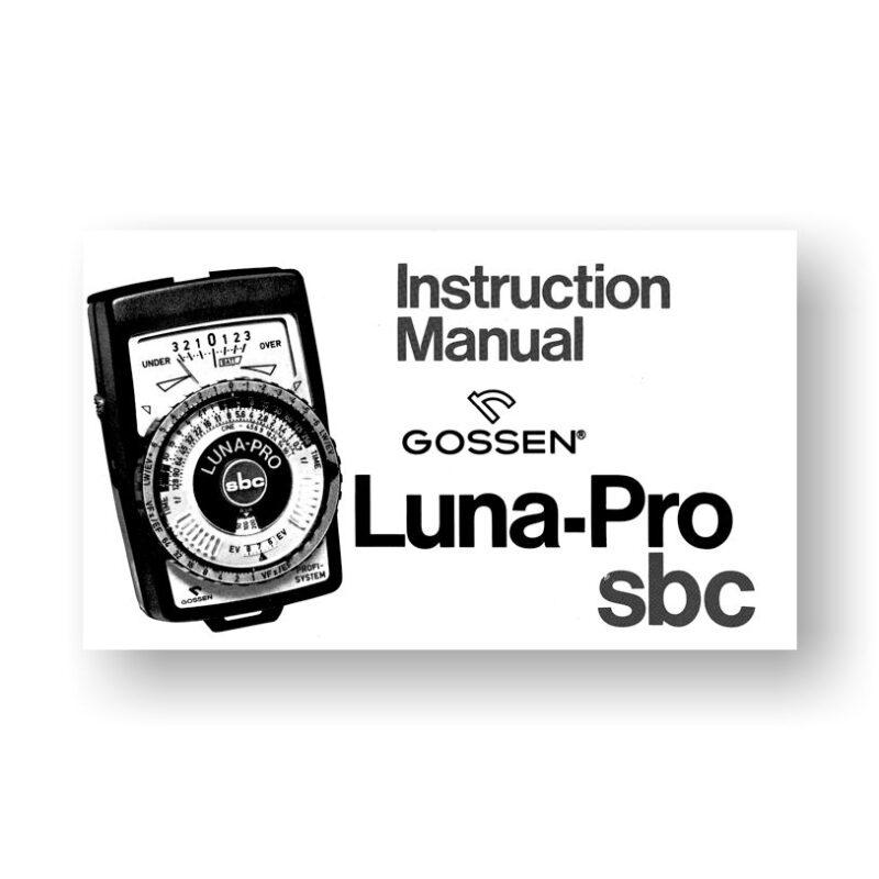Gossen Luna-Pro SBC Owners Manual