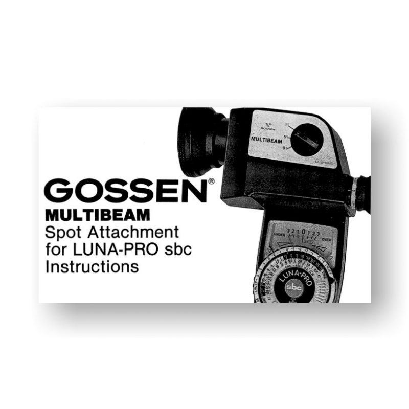 Gossen Multibeam Spot Attachment Owners Manual